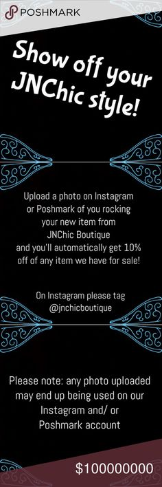 ❤Welcome to JNChic Boutique❤ Have you purchased from this closet before? Would you like a discount on your next order?  Just upload a photo of yourself wearing your new item on Instagram or Poshmark and you'll get 10% off of your next item!   Photos may be used on Instagram and/ or Poshmark to help show how amazing these items look on all of you beautiful ladies! Tops