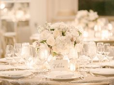 White Table Setting Reception Ideas | photography by http://www.rebeccayaleportraits.com