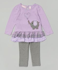 Look what I found on #zulily! Purple Elephant Tunic & Gray Leggings - Infant & Toddler #zulilyfinds