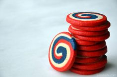 Red, White, and Blue Pinwheel Icebox Cookies | 4th of July