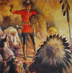 Canadian Mountie RCMP , With Indians in tent