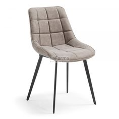 Chaise cuir design look retro ZAGATO avec pied en acier noir Quilted Leather, Pu Leather, Cheap Furniture, Furniture Design, Online Furniture, Furniture Movers, Furniture Ideas, Faux Leather Dining Chairs, Look Retro