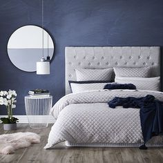 Blake Quilted Velvet Quilt Cover Cloud