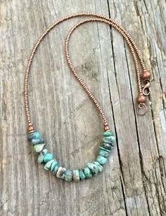 Natural turquoise necklace, Czech glass & copper southwestern jewelry