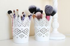 Pretty Makeup Brush Storage Idea. Planters from IKEA.