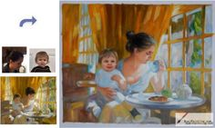 Custom oil portrait-Mother and son