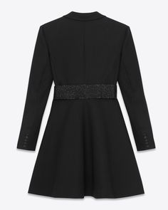 SAINT LAURENT ICONIC SMOKING SKATER MINI DRESS (BLACK / WOOL SABLE)  ¥ 464,400 MINI DRESS THAT SYMBOLIZES THE SAINT LAURENT V-NECKLINE CHEST WIDE OPEN. SUPPLE SKIRT AND PEAK LAPEL SUBJECTED TO SATIN TRIM FEATURES. CONNECTICUT LENGTH: 84,0 CM 100% WOOL SEQUIN BELT COVER FIXED  SILK LINING  AND ZIP CLOSURE AND HOOK TO THE SIDE 商品番号: 365073Y158F1000 MADE IN FRANCE