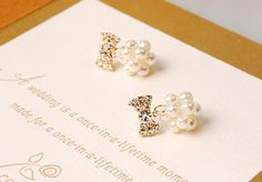 Petit Crystal Ribbon and Woven Pearl Ball Earrings by CharisJewel, $18.00