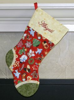 Girls red and green personalized Christmas stocking. Sugar Cookies. Angel. Snowman. Christmas tree. Gingerbread girl. CUSTOM