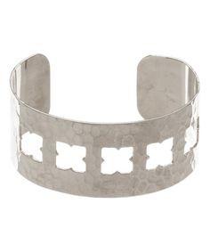 Another great find on #zulily! Silvertone Hammered Cutout Cuff #zulilyfinds