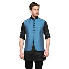Black Art Silk Readymade Kurta with Aligarh Pajama cum Nehru Jacket