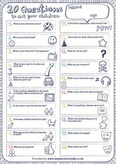 The Brick Castle: 20 Questions To Ask your Kids - with my 8 and 6 1/...