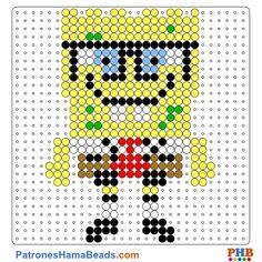 Bob Esponja plantilla hama bead. Descarga una amplia gama de patrones en formato PDF en www.patroneshamabeads.com
