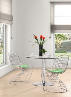 Superbe Zuo Wickham Dining Wire Chair And Tables With Vases. Find This Pin And More  On 3 Piece Dinette ...