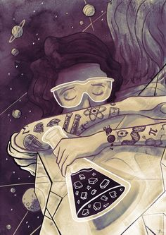 """Enamored with this lovely drawing of a """"scientist."""" By Ben Marriott"""