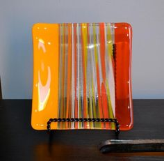 Fused Glass Plates, Fused Glass Jewelry, Fused Glass Art, Stained Glass Art, Mosaic Glass, Jewelry Tray, Glass Dishes, Table Orange, Glass Fusion Ideas