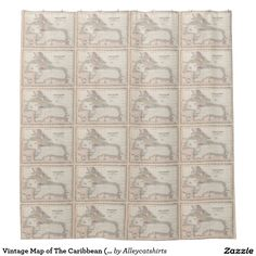 Vintage Map of The Caribbean (1857) Shower Curtain