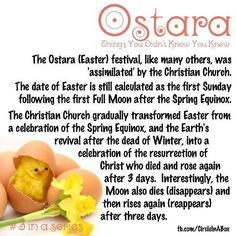 Spring Equinox: Ostara. Interesting that the moon also dies(disappears) and rises(reappears) three days later. It makes you think....Hmmmm