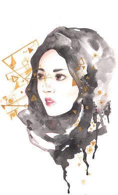 Original Illustration Black Hijab Female with by DroppingColors  #etsy…