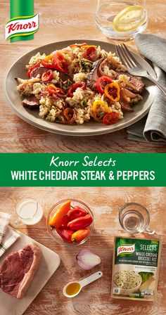 Gluten-free with no artificial flavors or preservatives, creamy new Knorr® Selects White Cheddar Broccoli Rice pairs beautifully with juicy sirloin and fresh bell peppers for a 30-minute recipe that always hits the spot.
