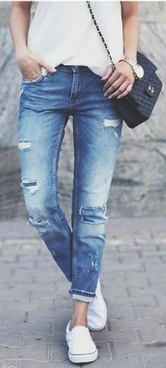 Summer/Spring Style:  distressed jeans, white tshirt. #summerstyle #casual