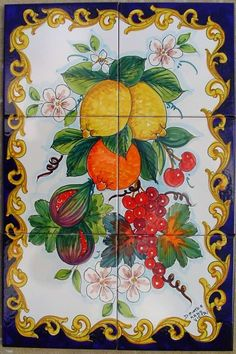 Pannello cucina Rustic Tile Murals, Italian Tiles, Italian Pottery, Mosaic Crafts, Fruit Art, Pottery Painting, Hanging Art, Sicily, Ceramic Pottery