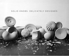 #Concrete Solid-Knobs / Each knob is designed and handcrafted in Cleveland, Ohio, USA by Grey Hensey.  Made one-by-one, every knob is completely unique