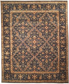 This beautiful Handmade Knotted Rectangular rug is approximately 12 x 14 New Contemporary area rug from our large collection of handmade area rugs with Persian Sultanabad style from India with Wool