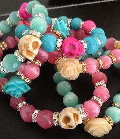 Skulls & Roses Beautiful pastel tone bracelets by KassiopeiaJewels,