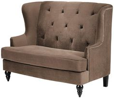 Comfortable seating is the key to room design success...  The right seating is easy to achieve with the Lainey Tufted Settee. Featuring velvet upholstery and espresso finished wood legs, the sleek and comfortable styling of this settee will make your guests feel right at home.