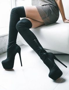 Hochhackige Schuhe, Boote, Overknee Stiefel Leder, Hohe Stiefel,  Geschichte, Heiße High c1820beaa3