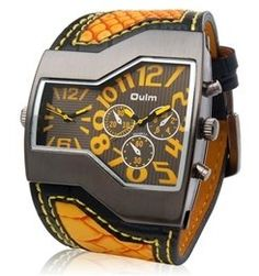 awesome Dual Quartz Movement Analog Sporty Watch with Faux Leather Strap  –  Single Time