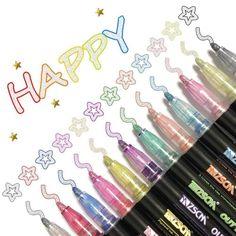 Birthday Greetings, Birthday Cards, Outline Designs, Marker Art, Paint Pens, Gel Pens, Metallic Colors, Diy Art, Envelopes