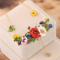 France Les Nereides Enamel Glated Necklaces Red Flowers Green Leaves Beautiful Fashion Glod Necklace For Women Party Jewelry