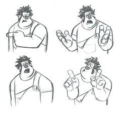 Enjoy a gallery of Original Concept Art, Character Design & Color Scripts for Disney movie Wreck-It Ralph. Disney Pixar, Walt Disney Animation Studios, Disney Art, Wreck It Ralph, Disney Sketches, Disney Drawings, Character Design Animation, Character Design References, Figuras Disney Infinity