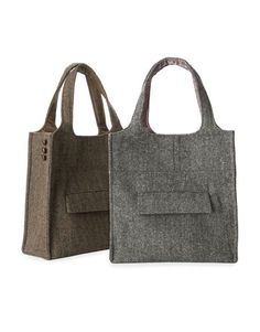 """Cute bags made out old men's sports-coats. Can get old sport jackets at Good Will! Inspiration or """"for sale"""" only. Sells online for over $200 ea."""