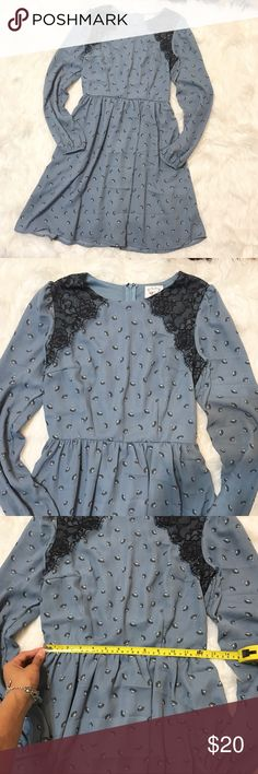 Kit & Sky Baby Blue Lace Long Sleeve Dress Sz XS Bought online from Target.com this Kit & Sky dress is super unique and adorable. The blue mixes so well with the black details. Only parting with it because it fits a little too snug on me 😢 price isn't firm!! Offers are very welcome! And bundle Offers work great!!! Kit & Sky Dresses Long Sleeve