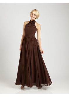 Chiffon Wedding Bridesmaid Dresses With 3-Dimensional floral Accent At The Neckline