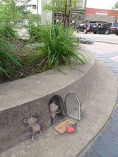 David Zinn sidewalk chalk illustrations - kid-friendly street art - children's art Small for Big 3d Street Art, Amazing Street Art, Street Art Graffiti, Street Artists, Amazing Art, Awesome, David Zinn, Sidewalk Chalk Art, Illustration Art
