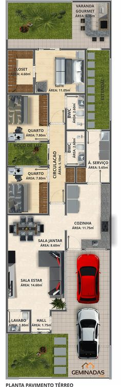 Geminadas.com #Plantasdecoracion Model House Plan, Dream House Plans, Small House Plans, House Floor Plans, My Dream Home, Home Design Plans, Plan Design, Duplex House, Sims House