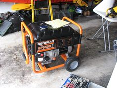 To keep my sump pumps going, I decided to buy a portable generator in case the power goes out. The only generator I could get my hands on is this behemoth 225 lbs Generac 5500 watts generator.  First on all, other than my small covered porch I do not have any other covered open area,  z