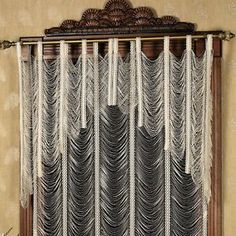 Ivory Lace Fringe Valance Swag Window Treatment