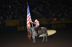 The rodeo features bareback bronc riding, saddle bronc riding, bull riding, steer wrestling, tie-down roping, team roping and ladies' barrel racing, plus mutton busting for the kids and the famous Snake River Stampeders Night Light Drill Team. Attendance is approximately 40,000 for the five-day, six-performance event.