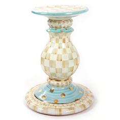Handmade, hand painted ceramic with hand applied gold leaf embellishments. Parchment Check Pedestal Table Base by MacKenzie Childs Paint Furniture, Furniture Makeover, Furniture Decor, Repainting Furniture, Dream Furniture, Mackenzie Childs Furniture, Pedestal Table Base, Pedestal Stand, Painted Candlesticks