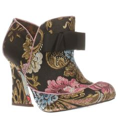 womens irregular choice black & pink lovingly gazing boots