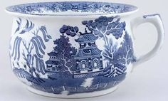 Lovely pot printed in a steely blue. Blue Willow China, Blue And White China, Blue Dishes, White Dishes, White Plates, Willow Pattern, Pots, China Patterns, Vintage Pottery