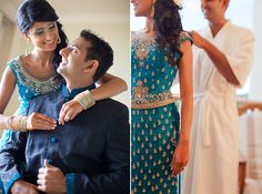 love the teal of this lengha! The adorableness of the couple is cute too