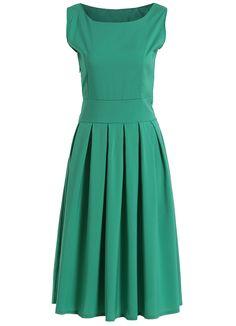 Square Neck Sleeveless Pleated Green Dress 12.67