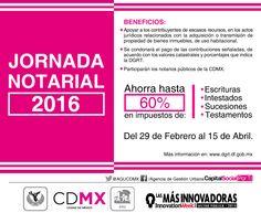 La #AGUCDMX le invita a la #JornadaNotarial del 29 de febrero al 15 de abril.