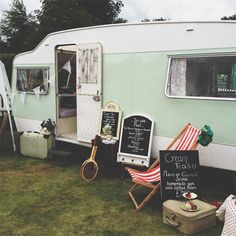 TEA SHOP Over the weekend I spotted this tea van at an outdoor tennis event. It was so cute, all flowery inside and sold yummy brownies {with edible gold leaf} and lots of tea. The owner rents the caravan for photo shoots, and offers a vintage styling service, details of which can be found on her website, Jam and Tea. I think I may yet own a little caravan.